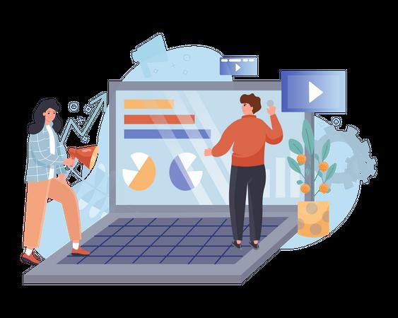 Analyzing marketing team Illustration