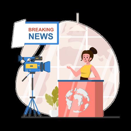 Anchor presenting Breaking news Illustration