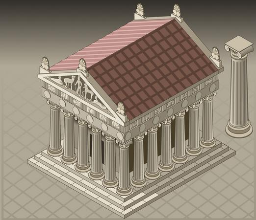 Ancient Building Architecture Illustration