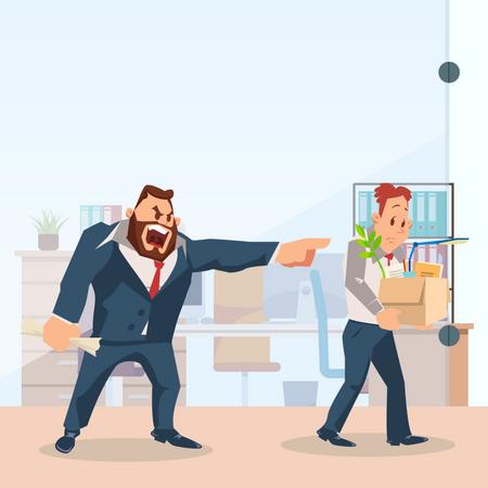 Angry Boss Dismissing Employee. Illustration