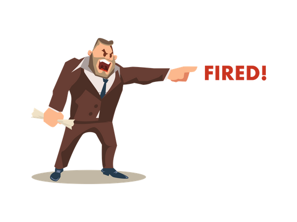 Angry boss firing employees Illustration