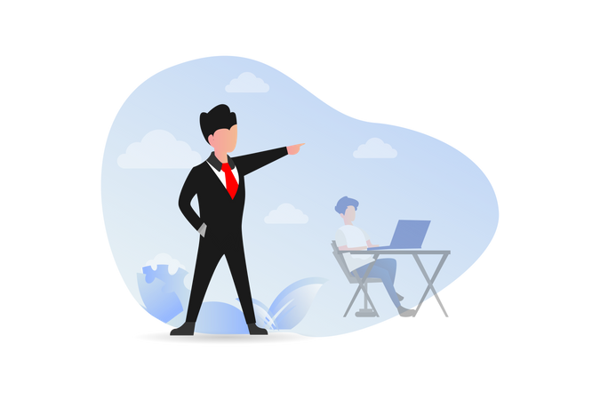 Angry boss yelling at employee Illustration