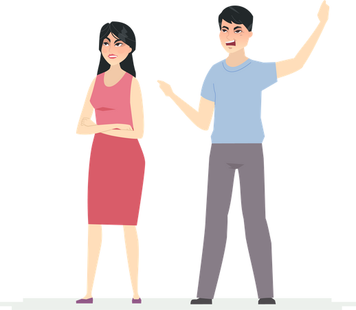 Angry chinese couple Illustration