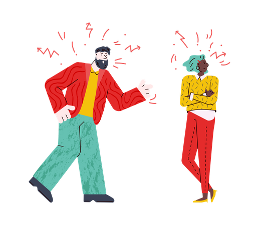 Angry couple having a fight Illustration