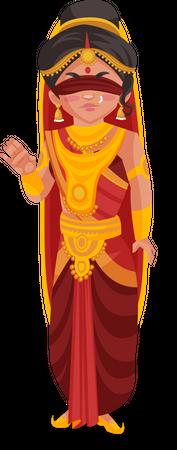Angry Gandhari Illustration