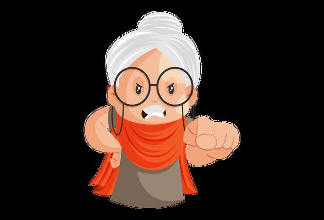 Angry Grandmother Illustration