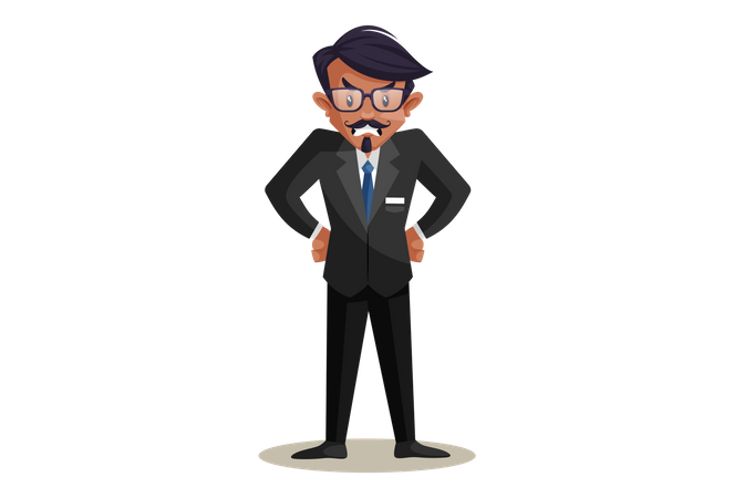 Angry Indian Train Conductor Illustration