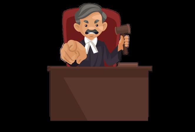 Angry judge holding hammer Illustration