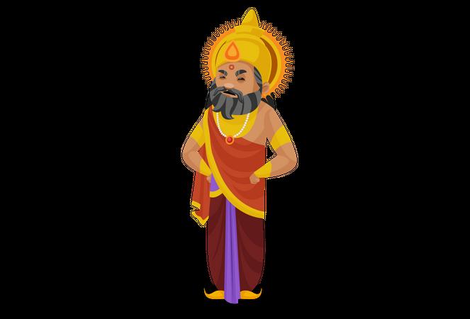 Angry King Dhritarashtra Illustration