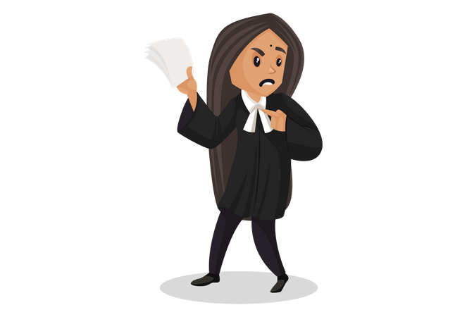 Angry Lawyer holding paper in her hand Illustration