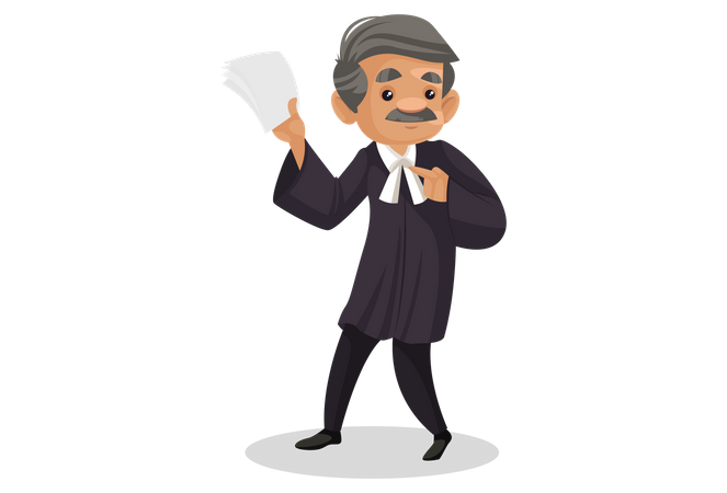 Angry Lawyer holding paper in his hand Illustration