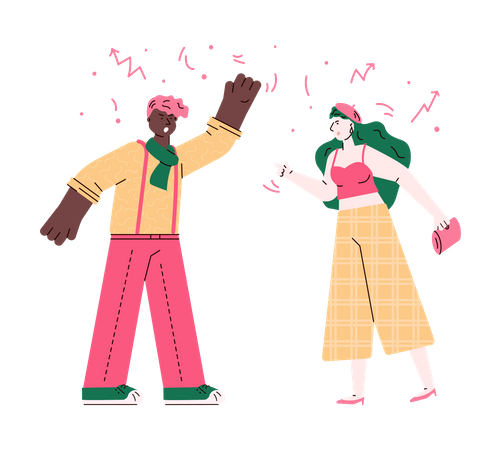 Angry man and woman having a fight Illustration
