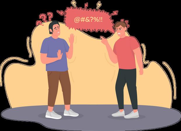 Angry man cursing, swearing Illustration