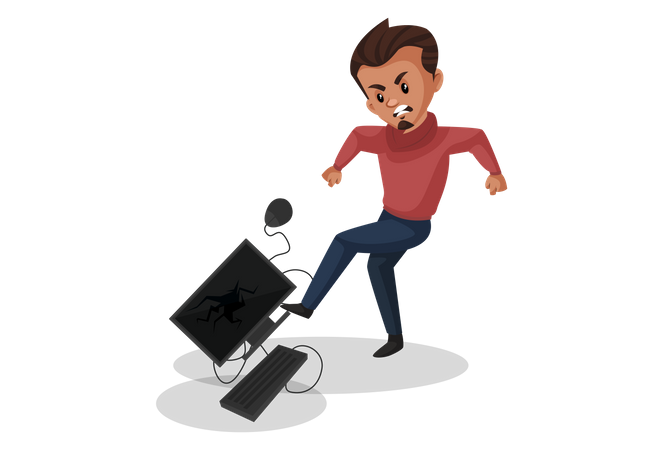Angry Man kicking computer Illustration