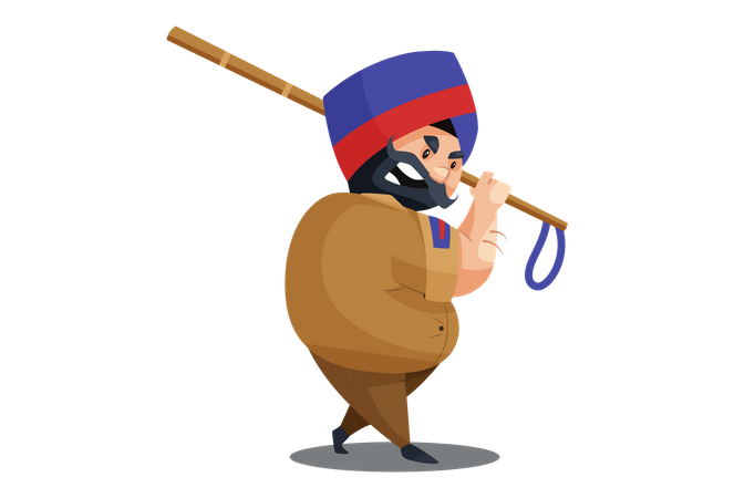 Angry Police man is holding baton in hand Illustration