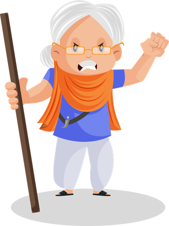 Angry Punjabi woman holding a stick in hand Illustration