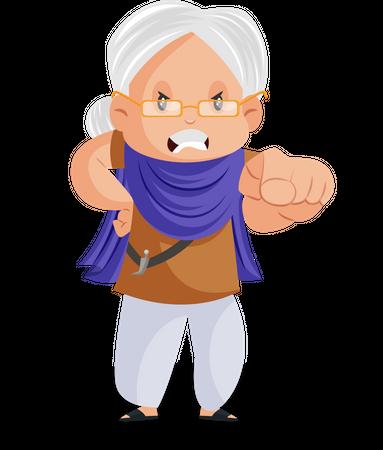 Angry Punjabi woman pointing finger Illustration
