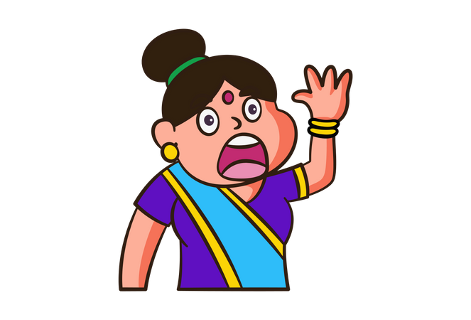 Angry woman is raising hands Illustration