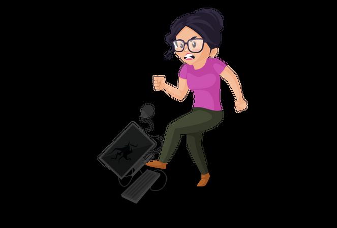 Angry woman kicking computer Illustration