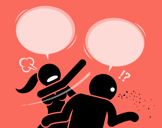 Angry woman slapping a man for being rude and insulting Illustration