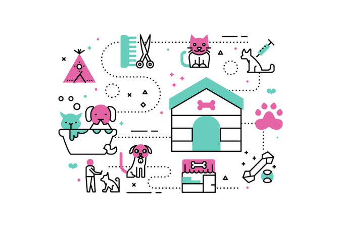 Animal shelter line icons illustration Illustration