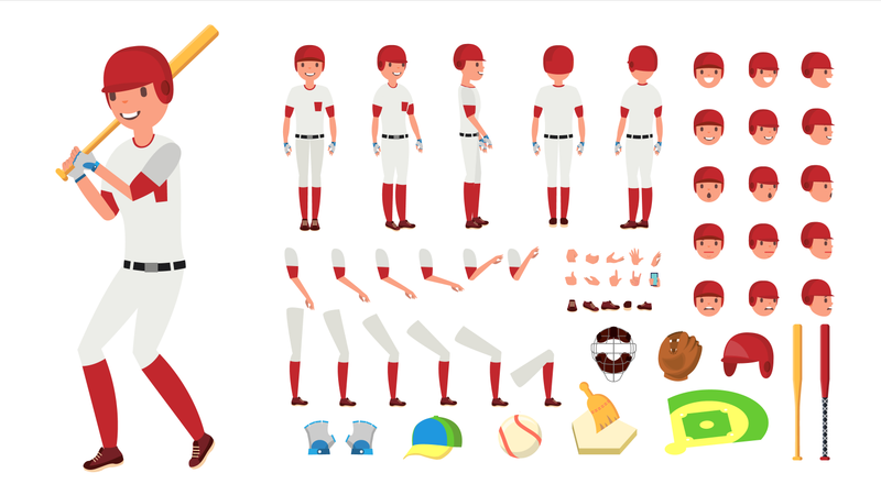 Animated Character Creation Set For Baseball Player Illustration