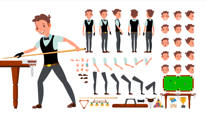 Animated Character Creation Set Of Professional Snooker Player Illustration