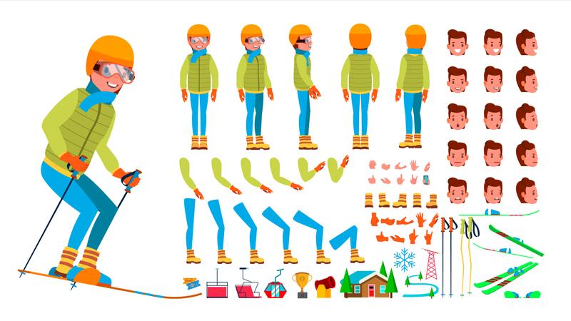 Animated Character Creation Set Of Skiing Man Illustration