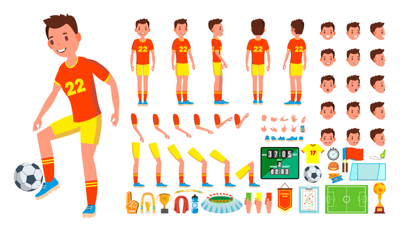 Animated Character Creation Set Of Soccer Player Illustration