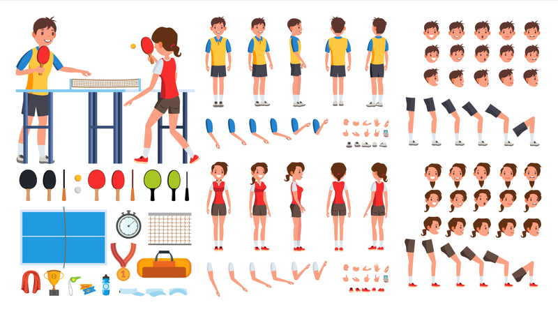 Animated Character Creation Set Of Table Tennis Player Illustration