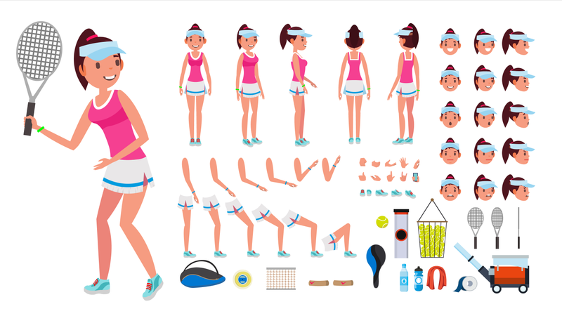 Animated Character Creation Set Of Tennis Player Illustration