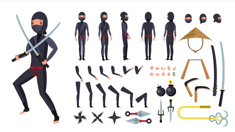 Animated Ninja Character Creation Set Illustration