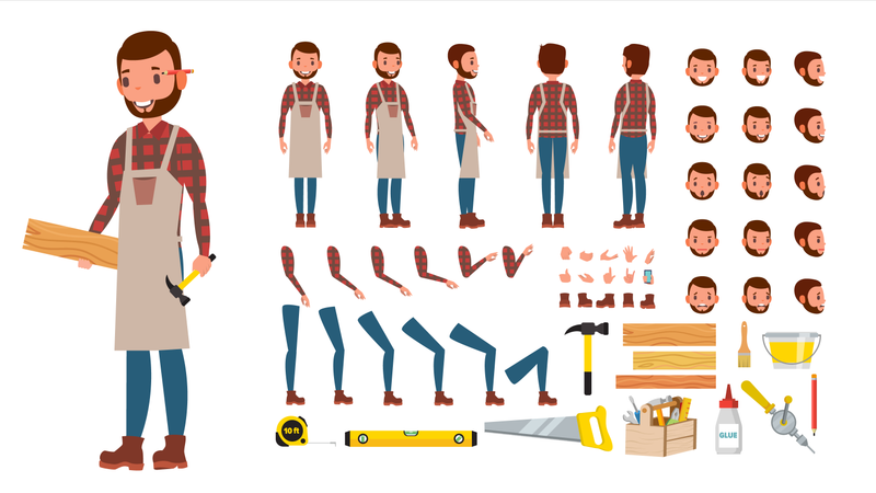 Animated Professional Character Creation Set Illustration