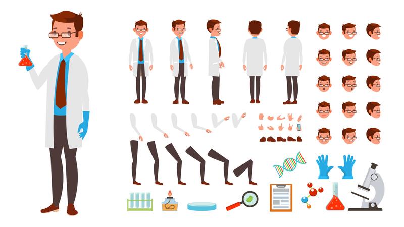 Animated Scientist Character Creation Set Illustration
