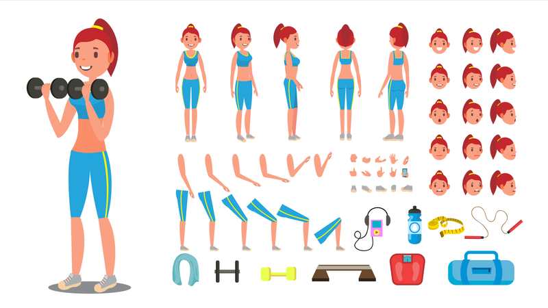 Animated Sport Female Character Creation Set Illustration
