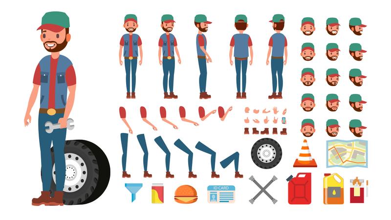 Animated Trucker Character Creation Set Illustration