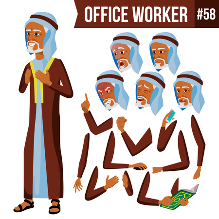 Animation Creation Set Of Arab Businessman With Different Face Emotions Illustration