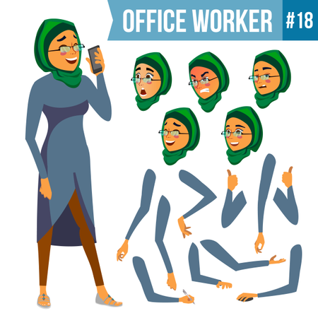 Animation Creation Set Of Arab Employee With Different Face Emotions Illustration