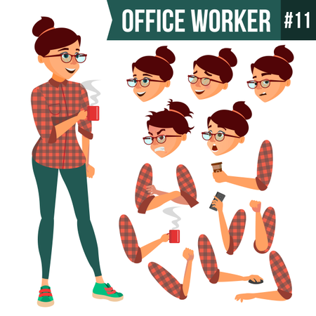 Animation Creation Set Of Business Woman With Different Face Emotions Illustration
