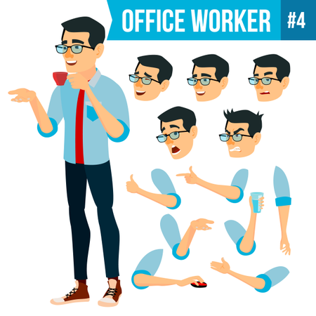 Animation Creation Set Of Businessman With Different Face Emotions Illustration