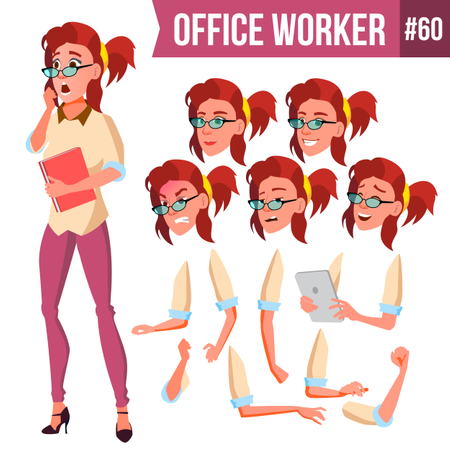 Animation Creation Set Of Businesswoman With Different Face Emotions Illustration