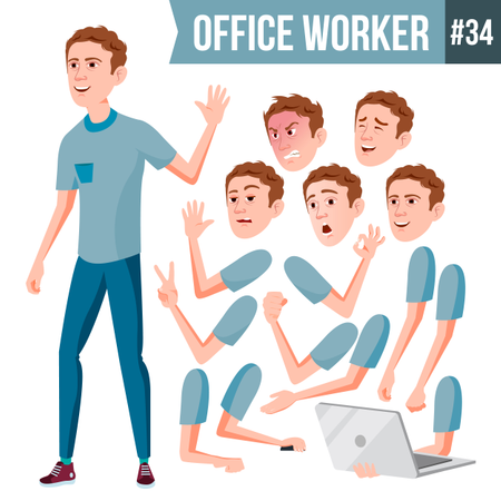 Animation Creation Set Of Employee With Different Face Emotions Illustration