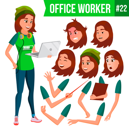 Animation Creation Set Of Freelancer With Different Face Emotions Illustration