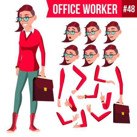 Animation Creation Set Of Lady Employee With Different Face Emotions Illustration