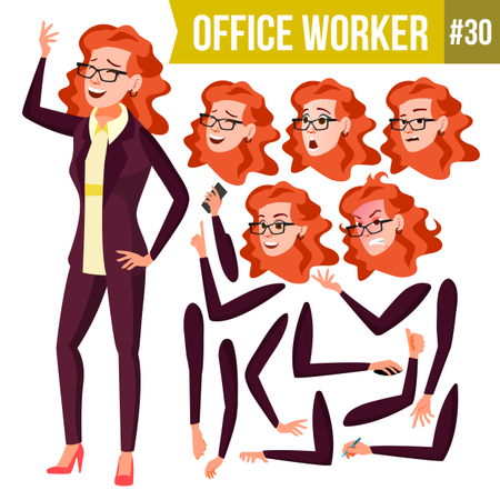 Animation Creation Set Of Office Worker With Different Face Emotions Illustration