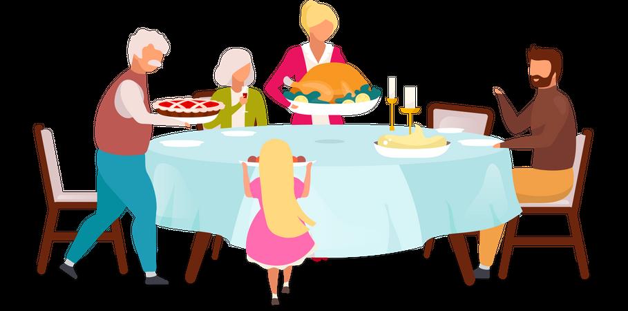 Annual festive meal Illustration