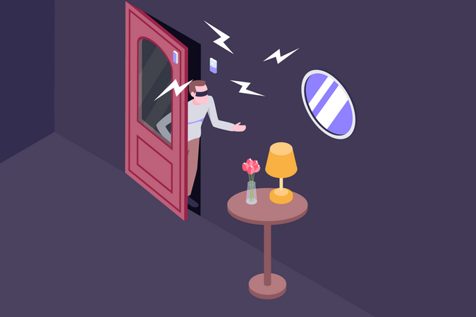 Anti theft alarm ringing when Thief stalling house items Illustration
