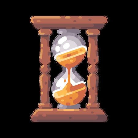 Antique wooden hourglass Illustration