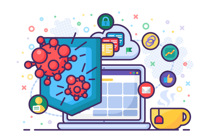 Antivirus computer protection software vector Illustration