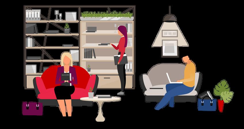 Applicants at HR agency Illustration